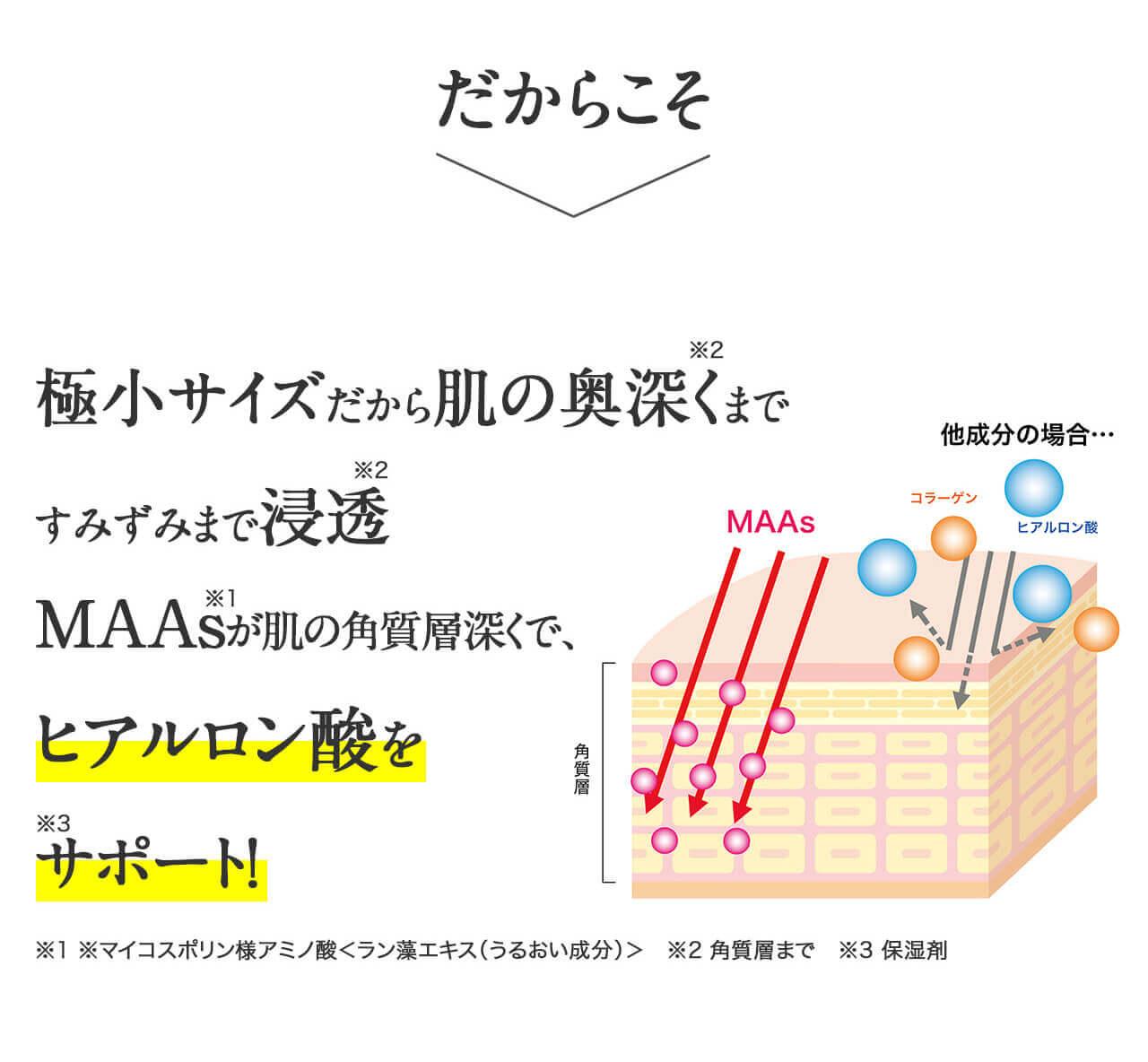 極小サイズだから肌の奥深くまですみずみまで浸透 MAAsが肌の角質層深くでヒアルロン酸をサポート!※1 うるおい成分MAAs(ラン藻エキス) ※2 角質層まで ※3 保湿剤